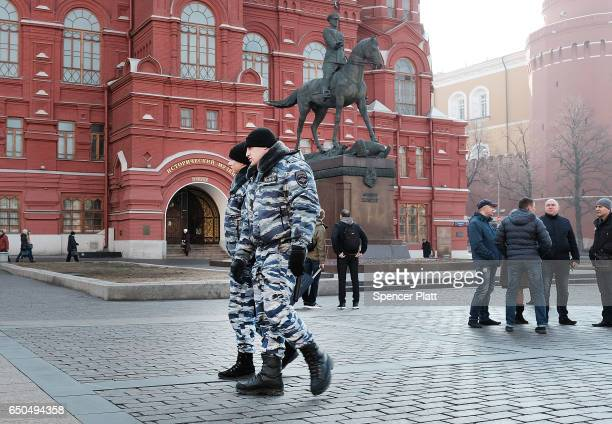 Police walk near Red Square on March 9 2017 in Moscow Russia Relations between the United States and Russia are at their lowest point in years as...