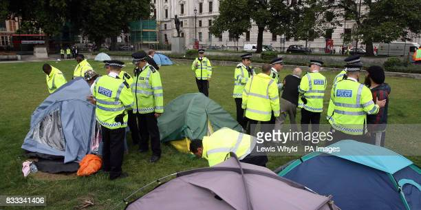 Police with the peace campers after letters were issued to the campers asking them to leave Parliament Square after claims that they have...