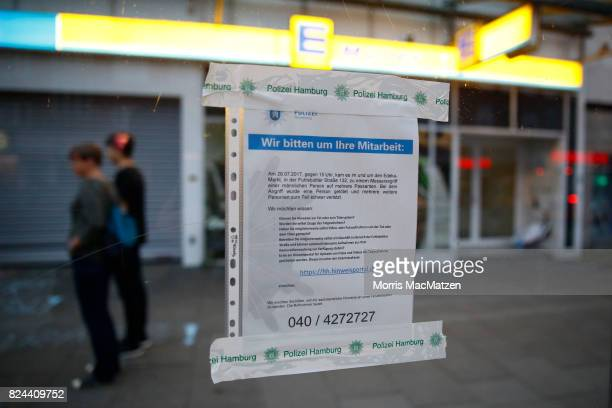 A police witness report request is pictured on bus station next to the Edeka supermarket where on Friday Ahmad A killed one and injured six people...