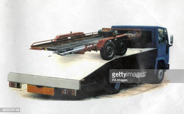 A policeissued picture of the cargo trailer which was attached to the blue flatbacked Ford lorry used to plant the IRA bomb in London's Docklands...