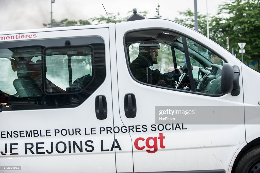 A policeman drove the van of the CGT after the police intervention around the roundabout Post in Lille, France on june 28, 2016. A new national day of action against labor law unfolds in all of France. Economic blocking action was planned by the CGT in Lille this morning at 6:30 am.