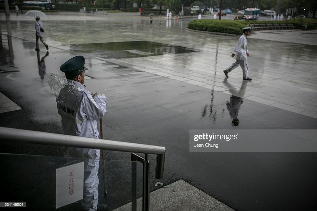 Policeman from Nagasaki stand guard and patrol outside Peace Memorial Museum on May 26, 2016 in Hiroshima, Japan. On May 27, 2016, the U.S. President Obama is scheduled to visit Hiroshima, which will be the first time a U.S. President makes an official visit to the iconic site where the atomic bomb was dropped in the end of World War II.