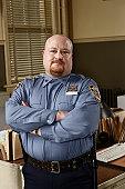 Policeman in office, portrait
