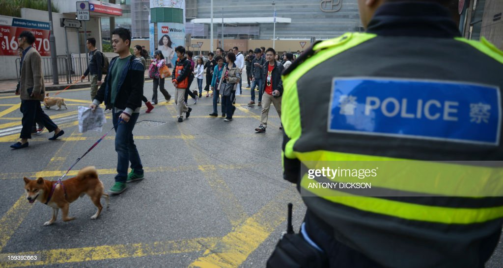 A policeman (R) looks on as a dog and its owner (L) attend a pro-animal rights rally in Hong Kong on January 13, 2013. The rally, organised on social media site Facebook, attracted around 1000 supporters who rallied for the police to take stronger action against the abuse of animals and to protect the rights of animals. AFP PHOTO / Antony DICKSON