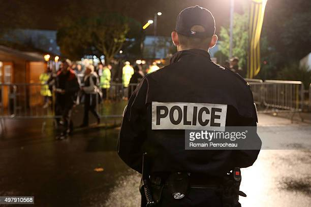 A policeman looks on before the European Rugby Challenge Cup match between La Rochelle and Gloucester at Stade Marcel Deflandre on November 19 2015...
