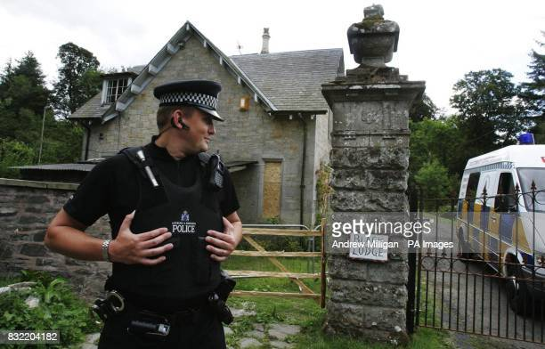 A policeman outside Black Lodge in the Scottish Borders where Christopher 'Pascal' Norris who is believed to have died of anthrax lived alone The...