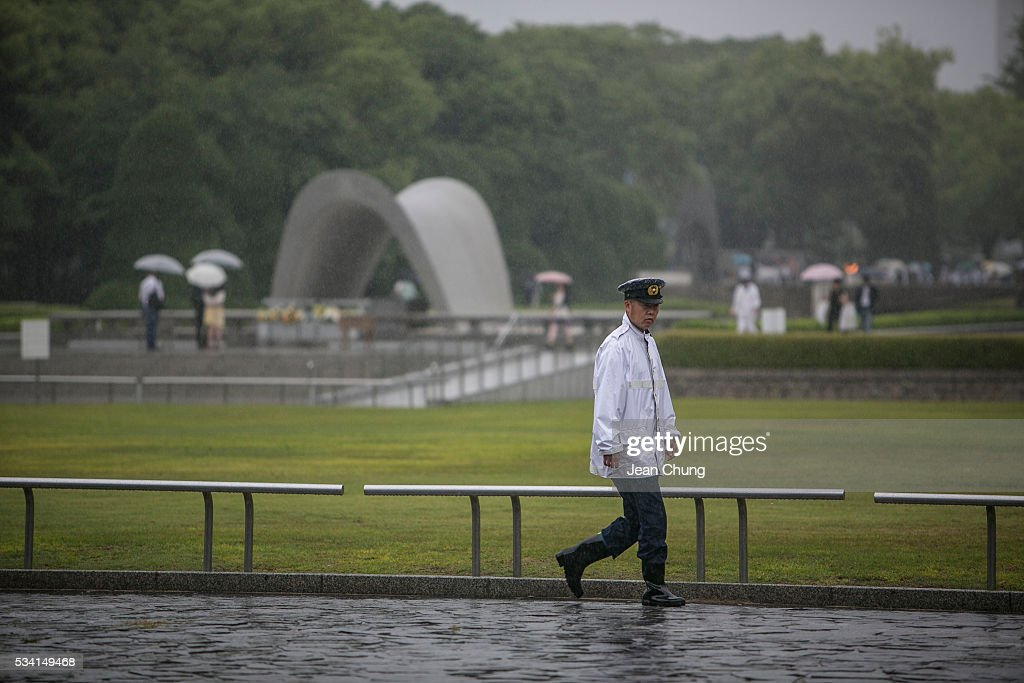 A policeman patrols inside Peace Memorial Park on May 26, 2016 in Hiroshima, Japan. On May 27, 2016, the U.S. President Obama is scheduled to visit Hiroshima, which will be the first time a U.S. President makes an official visit to the iconic site where the atomic bomb was dropped in the end of World War II.