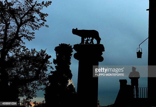 A policeman stands guard near a statue representing the Capitoline wolf outside Rome's city hall 'Campidoglio' on December 5 2014 in Rome The...