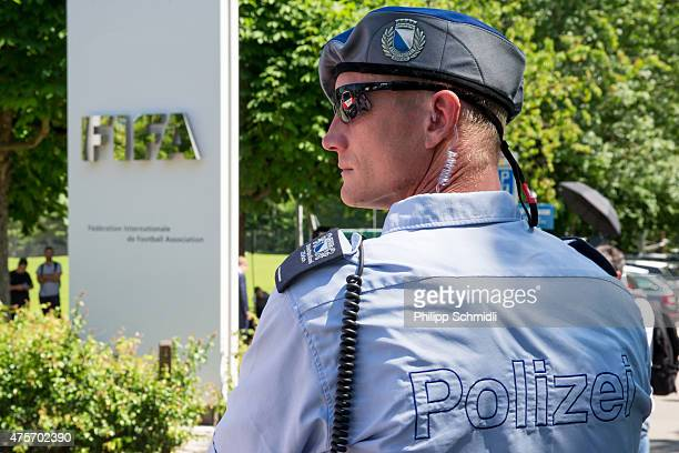 A policeman stands in front of the FIFA headquarters on June 3 2015 in Zurich Switzerland Joseph S Blatter resigned as president of FIFA The...