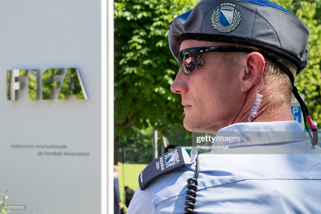 A policeman stands in front of the FIFA headquarters on June 3, 2015 in Zurich, Switzerland. Joseph S. Blatter resigned as president of FIFA. The 79-year-old Swiss official, FIFA president for 17 years said a special congress would be called to elect a successor.