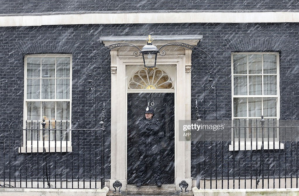 A policeman stands in the driving snow as he guards the front door of 10 Downing Street in London, on January 18, 2013. Heavy snow is expected to affect large parts of Britain Friday. AFP PHOTO / JUSTIN TALLIS
