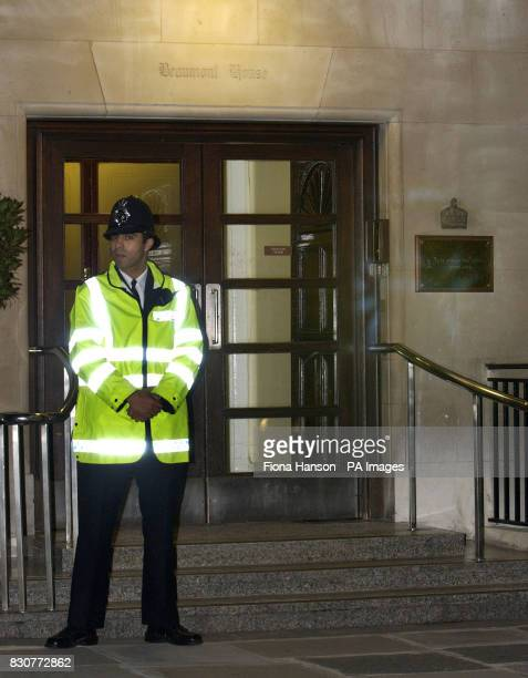 A policeman stands outside the King Edward VII Hospital central London where the Countess of Wessex underwent an emergency operation following the...