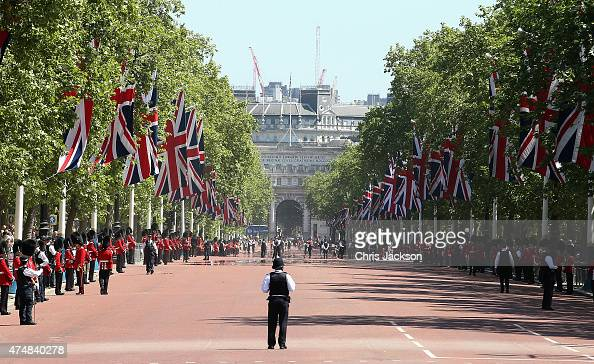 A policeman waits for Queen Elizabeth II and Prince Philip Duke of Edinburgh to travel down the Mall back to Buckingham Palace in the Diamond Jubilee...