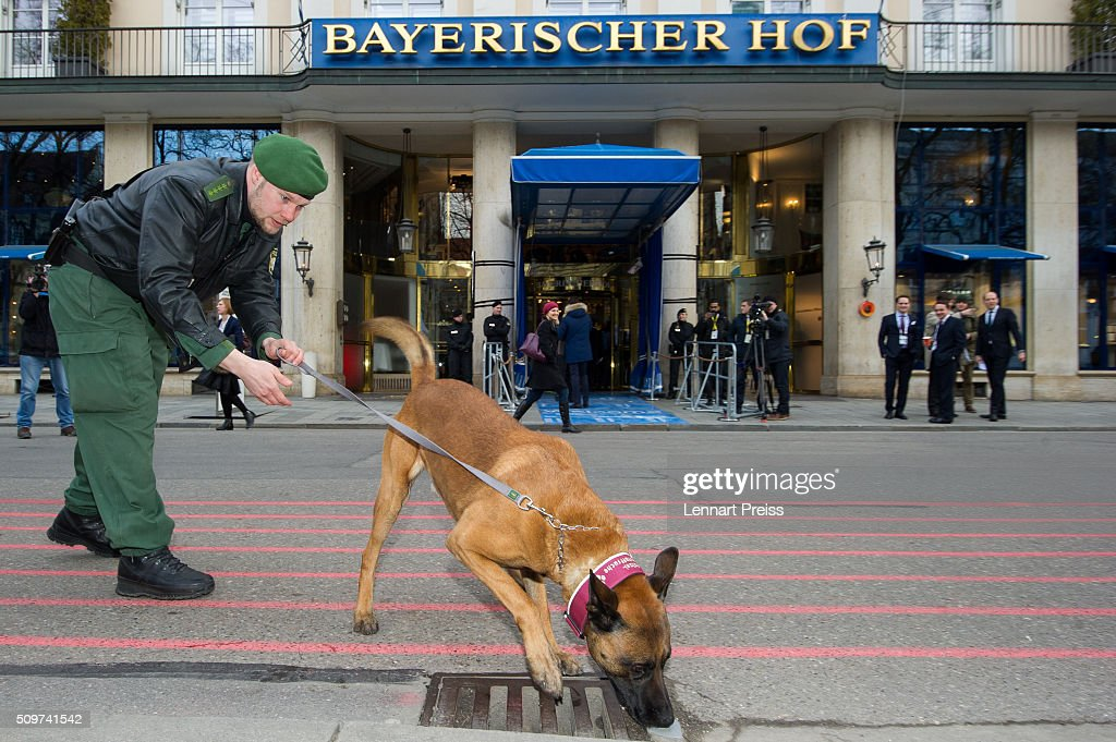 U.S. A policeman with a bomb sniffer dog checks the area in front of the Hotel Bayerischer Hof during an official photo opp ahead of the 2016 Munich Security Conference at the Bayerischer Hof hotel on February 12, 2016 in Munich, Germany. The annual event brings together government representatives and security experts from across the globe and this year the conflict in Syria will be the main issue under discussion.