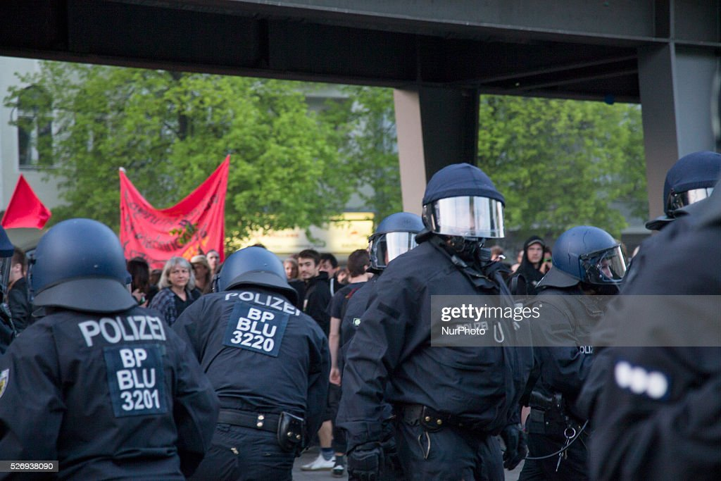 Policemen are pictured during the clashes occurred between demonstrators and police in the Kreuzberg district on May 1, 2016 in Berlin, Germany. May Day, or International Workers' Day, was established as a public holiday in Germany in 1933. Since 1987 May Day has also become known in Berlin for violent clashes between police and mostly left-wing demonstrators.