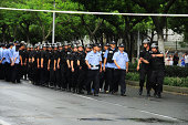 Policemen block the road next to the Kunshan Zhongrong Metal Products Co Ltd after blast on August 2 2014 in Kunshan China An explosion in a metal...