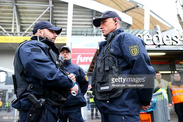 Policemen control the security at the stadium prior to the Bundesliga match between VfB Stuttgart and FC Augsburg at MercedesBenz Arena on November...