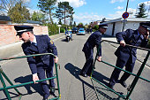 Policemen put the barriers after the Hungarian Prime Minister Viktor Orban has visited the former German Chancellor Helmut Kohl at Kohl's villa in...