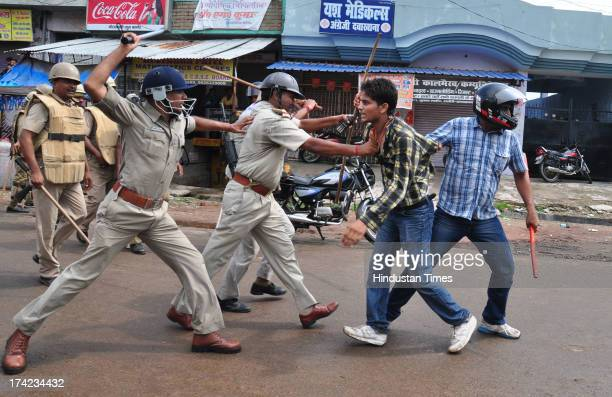 Policemen resort to lathicharge on the students protesting against new reservation policy of UP Public Service Commission on July 22 2013 in...