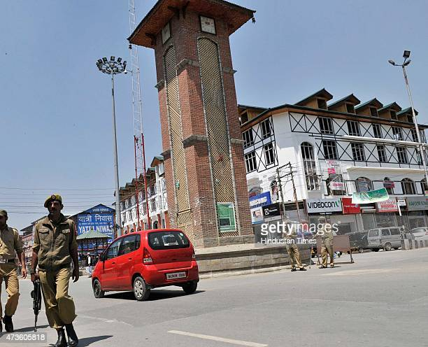 Policemen stand guard at Lal Chowk where Youth for Nation activists tried to hoist the national flag on May 16 2015 in Srinagar India Mean while...