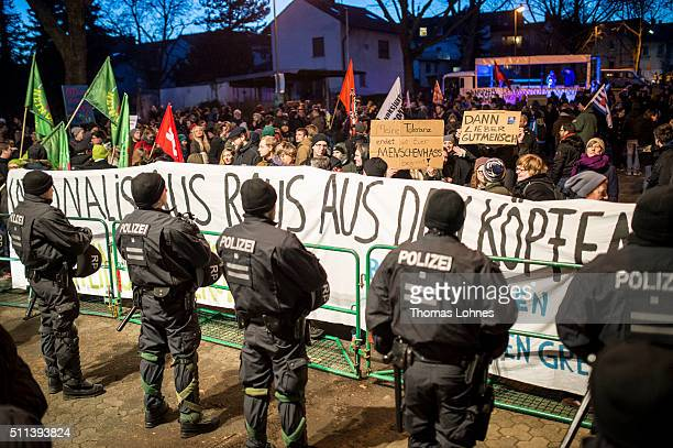 Policemen stand in front of a counterdemonstration against an election rally of the political party Alternative fuer Deutschland RhinelandPalatinate...
