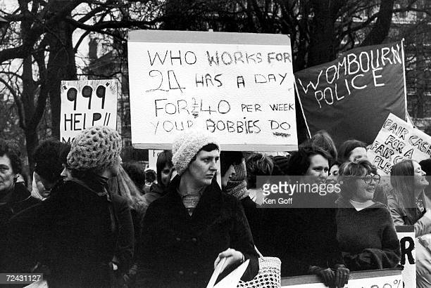 Policemen's wives assembling at Hyde Park for a march to the Houses of Parliament to lobby MP's for better pay for their husbands