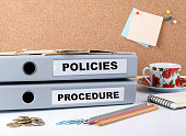 Policies and Procedure - two folders on white office desk.