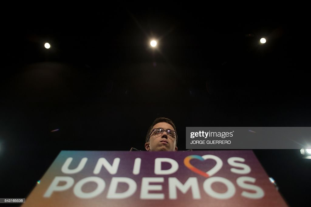 Policy secretary of left-wing party Podemos Inigo Errejon delivers a speech before the official results of Spain's general election in Madrid on June 26, 2016. Spain's second elections in six months was due to conclude on June 26 in much the same way as they did in December, with the incumbent conservatives winning tailed by the Socialist party, partial results showed. / AFP / JORGE