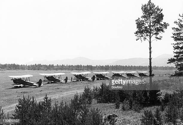 Polikarpov po2 planes used for forest protection at an aerodrome in the irkutsk region july 1949