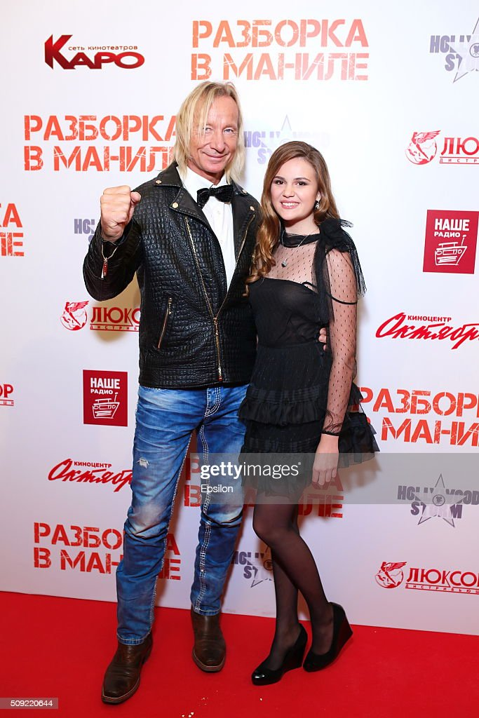 Polina Butorina and Matthias Hues attend 'Showdown in Manila' premiere in October cinema hall on February 9, 2016 in Moscow, Russia.