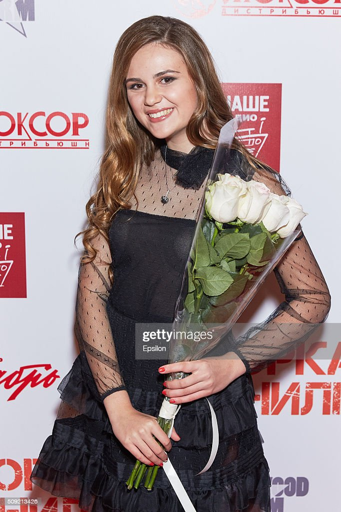 Polina Butorina attends 'Showdown in Manila' premiere in October cinema hall on February 9, 2016 in Moscow, Russia.