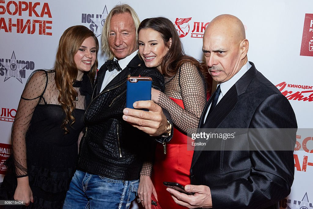 Polina Butorina Matthias Hues, Natalya Gubina and Robert Madrid attend 'Showdown in Manila' premiere in October cinema hall on February 9, 2016 in Moscow, Russia.