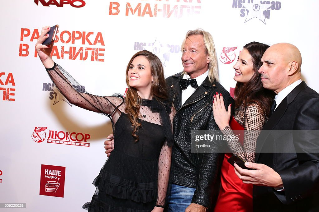 Polina Butorina, Matthias Hues, Natalya Gubina and Robert Madrid attend 'Showdown in Manila' premiere in October cinema hall on February 9, 2016 in Moscow, Russia.