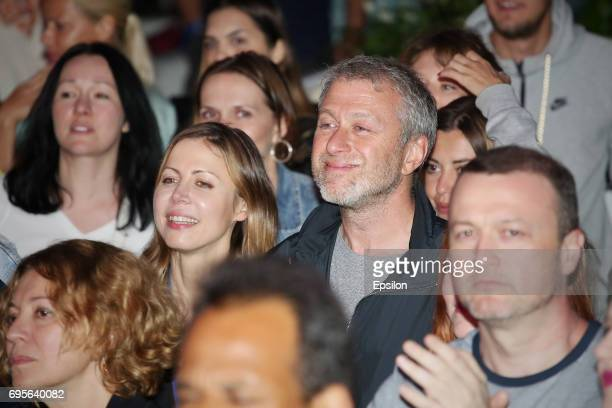 Polina Deripaska chairperson of the Board of Directors at Forward Media Group Publishing House and Russian businessman Roman Abramovich attend the...