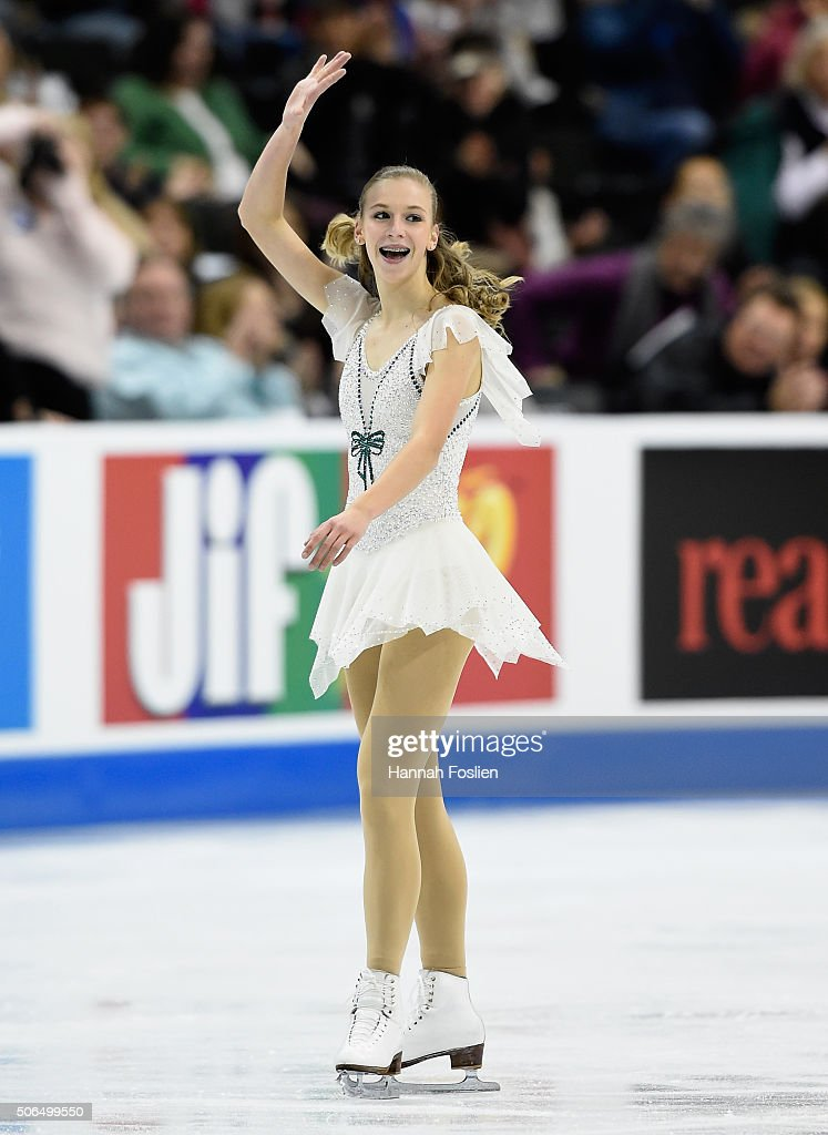 <a gi-track='captionPersonalityLinkClicked' href=/galleries/search?phrase=Polina+Edmunds&family=editorial&specificpeople=11711394 ng-click='$event.stopPropagation()'>Polina Edmunds</a> reacts after competing in the Ladies' Free Skate at the 2016 Prudential U.S. Figure Skating Championship on January 23, 2016 at Xcel Energy Center in St Paul, Minnesota.