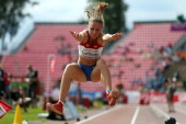Polina Yurchenko of Russia competes in the final of the Long Jump during day four of The European Athletics U23 Championships 2013 on July 14 2013 in...