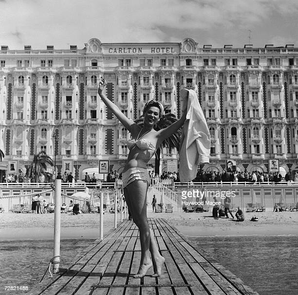 Polish actress Bella Darvi poses in front of the Carlton Hotel during the Cannes Film Festival 12th May 1956 Original Publication Picture Post 8378...