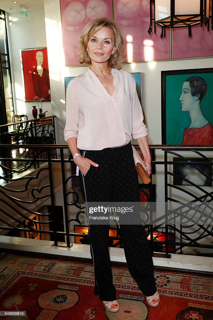 Polish actress Malgorzata Fotermniak attends the Marc Cain fashion show spring/summer 2017 at CITY CUBE Panorama Bar on June 28, 2016 in Berlin, Germany.