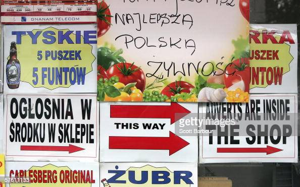 Polish advertisements sit in a shop window in an area popular with Polish people on May 15 2006 in west London England Following admittance to the...