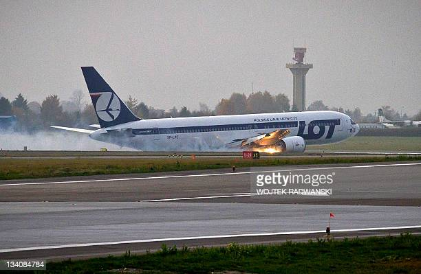 Polish airlines Boeing 767 flying from New York with 227 people on board makes an emergency landing at Warsaw's airport on November 1 2011 after...