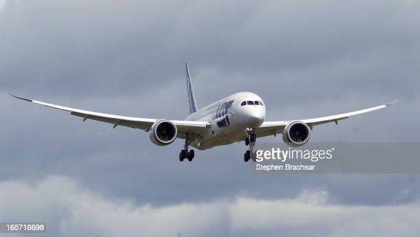 Polish Airlines Boeing 787 Dreamliner prepares for landing after a certification flight April 5 2013 at Paine Field in Everett Washington The flight...