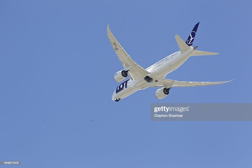 Polish Airlines Boeing 787 Dreamliner, with a redesigned lithium ion battery, flies north during a test flight March 25, 2012 at Paine Field in Everett, Washington. The 787 has been grounded since January after problems with the lithium ion battery.