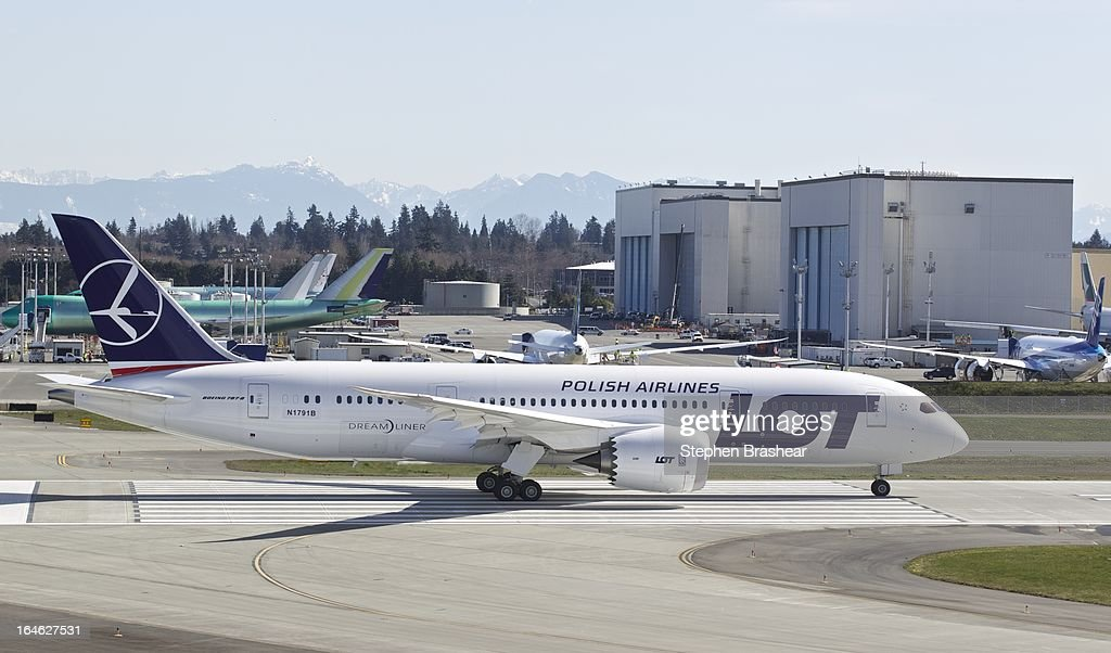Polish Airlines Boeing 787 Dreamliner, with a redesigned lithium ion battery, prepares to take off during a test flight March 25, 2012 at Paine Field in Everett, Washington. The 787 has been grounded since January after problems with the lithium ion battery.