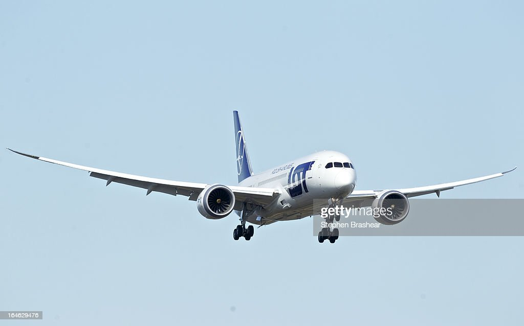 Polish Airlines Boeing 787 Dreamliner with a redesigned lithium ion battery makes an landing approach during a test flight March 25, 2012 at Paine Field in Everett, Washington. The 787 has been grounded since January after problems with the lithium ion battery.