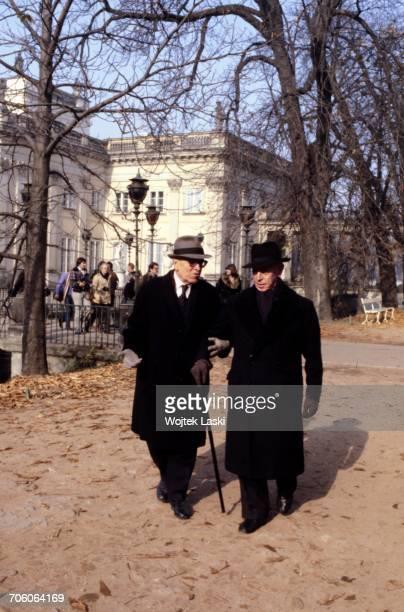 Polish American classical pianist Artur Rubinstein with his friend Roman Jasinski in Lazienki Park Warsaw Poland 1979