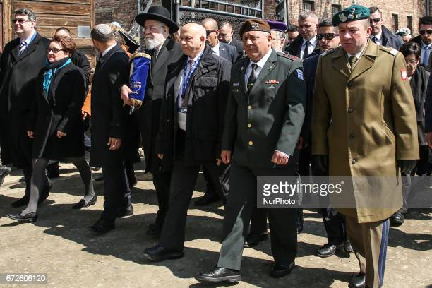 Polish and Jewish officials during the 'March of the Living' at the former NaziGerman Auschwitz Birkenau concentration and extermination camp at...