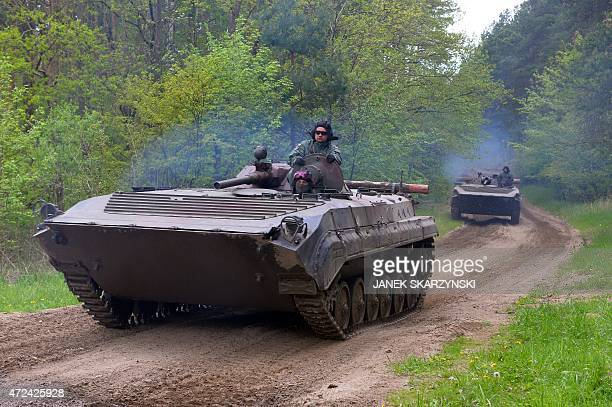 Polish armored vehicles exercise at the taining range in Drawsko Pomorskie on May 7 2015 AFP PHOTO / JANEK SKARZYNSKI
