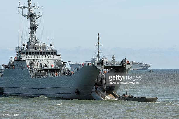 A Polish army amphibian tries to get in a transport ship during NATO military sea exercises BALTOPS 2015 in the Baltic Sea off the coast of Ustka...