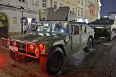 Polish Army vehicles in standby on Tuesday evening in Krakow's Main On Tuesday 26 July 2016 in Krakow Poland
