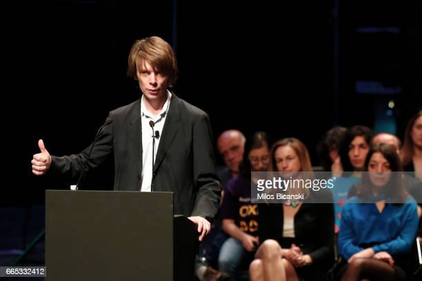 Polish artistic director of Documenta 14 Adam Szymczyk speaks at a press conference of Documenta 14 at the Athens Concert Hall on April 6 2017 in...